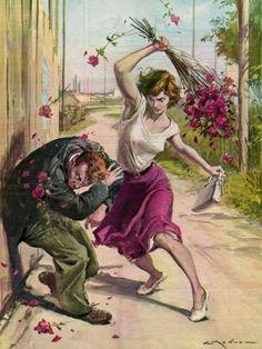 Molino, Walter (b,1915)- Thorny Roses to Rescue- 'La Domenica del Corriere'- July, 1958