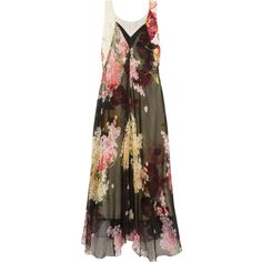 Lanvin Floral-print silk-chiffon and crepe de chine gown ($5,240) ❤ liked on Polyvore featuring dresses, gowns, black, floral evening gown, lanvin gown, colorful dresses, flower print dress and layered dress