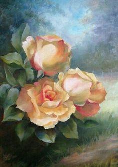 Beautiful simple paintings of three roses. #rosestillart #florals
