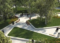 Landscape Architecture For Urban Parks Landscape And Urbanism, Landscape Elements, Park Landscape, Landscape Architecture Design, Landscape Plans, Contemporary Landscape, Urban Landscape, Street Design, Plaza Design