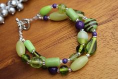 Lime Green Purple Murano Glass Beaded Toggle Bracelet by AROISProducts. Mardi gras bead colors