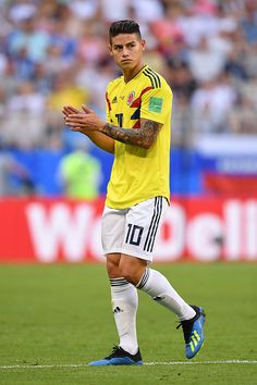 James Rodriguez of Colombia lines up prior to the 2018 FIFA World Cup...
