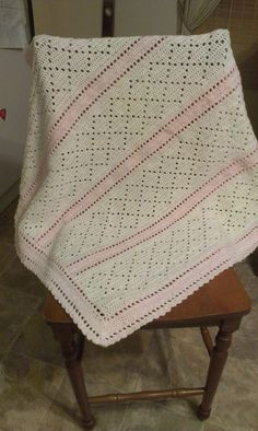 Crochet Baby Blanket- but in blue & cream