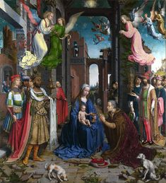 "FCBTC / Jan Gossaert,  'The Adoration of the Kings'  1510-15. Oil on oak. National Gallery, London. The details on this work are just amazing. If you're wondering what I mean, the red trim on the Black King, Balthazar's crown, says, ""GOSSAERT""."