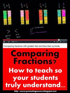 FREE Math Comparing Fractions -- REPIN and visit this blog for tons of FREE teaching ideas and resources! ~ TeachersPayTeachers Promoting Success for You and Your Students!
