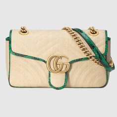 f314e27e7 Gucci Online Exclusive GG Marmont raffia small shoulder bag