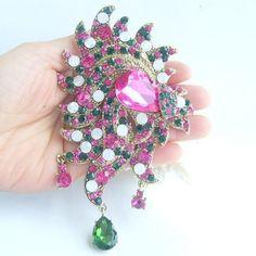 "5.32""Gorgeous Drip Flower Brooch Pin w Multicolor Rhinestone Crystals EE05028C11"