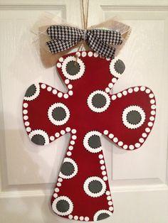 Handpainted Wooden Bama Polka Dot Cross Door by KellyJoKreations, $40.00