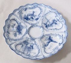 1905-1920 Weimar Germany Blue and White Oyster Plate German Wildlife Motif
