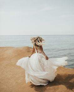 The GALATEA gown by  💕 perfect for a carefree bride who walks barefoot on the beach under moonlight 🌙  Wedding Photo Books, Wedding Pics, Wedding Trends, Wedding Styles, Wedding Ideas, Bhldn Wedding, Boho Wedding, Wedding Gowns, Dusty Blue Weddings