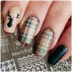 Cute deer and checked stamping nails, easy to make it, wanna try? More details shared in bornprettystore.com