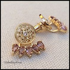 ✨Gold & Vintage Rose✨ RA Jacket Earrings By Malibu-based designer ☀️ SunaharA ☀️ | Gold plated brass & vintage rose colored crystals | Limited quantities available! Sunahara Jewelry Jewelry Earrings