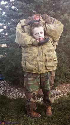 Kandis: My 10 - year - old son, Logan is wearing the costume. He wanted to be a zombie soldier or just something to do with being a soldier or being...