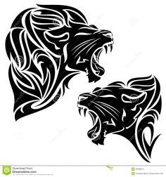 tribal roaring female lion Drawing | Tribal lion