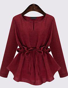 Plus Size Womens Blouse Shirts Autumn Slim Waist Ruffles Long Sleeved Cotton Linen Shirt Elegant All-match Chemise Femme Blusas Red Blouses, Blouses For Women, Summer Blouses, Cotton Blouses, Shirt Blouses, Tee Shirts, Blouse Styles, Blouse Designs, Hijab Fashion