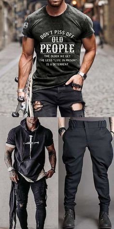 Cool Outfits, Casual Outfits, Men Casual, Fashion Outfits, Big Men Fashion, Mens Boots Fashion, Mode Man, Mens Outdoor Clothing, T Shirts With Sayings
