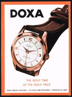 Vintage 1952 Doxa Ultra Plate Wrist Watch Mid Century Modern Art Print Ad. #doxa #watch #watches #vintage #ads #stawc Old Watches, Modern Watches, Vintage Watches, Watches For Men, Print Advertising, Print Ads, Vintage Advertisements, Vintage Ads, Watch Drawing