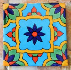 90 Mexican Talavera Tiles handmade-hand painted 4 by MexicanTiles Mexican Artwork, Mexican Paintings, Mexican Folk Art, Mexican Tiles, Ceramic Painting, Painting On Wood, Ceramic Art, Ceramic Pottery, Talavera Pottery