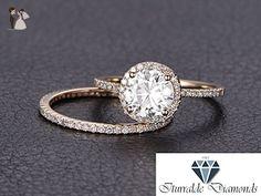 14k Round Cut Moissanite Diamond Pave Halo Matching Diamond Wedding Band - Wedding Set - Engagement Ring Set - Wedding and engagement rings (*Amazon Partner-Link)