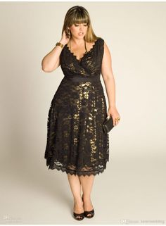 LM BlCK V NECK Plus Size Tea Length Plus Size Special Occasion Dresses | Buy Wholesale On Line Direct from China