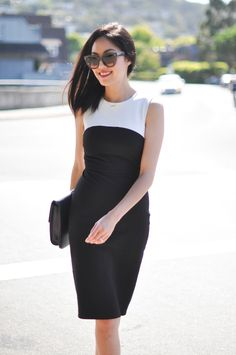 Anh Sundstrom of 9 to 5 chic sports a sophisticated yet sleek look in this #BRxRM Sloan Colorblock Sheath Dress