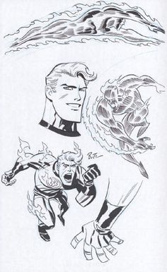 Human Torch sketches by Bruce Timm Comic Book Artists, Comic Book Characters, Comic Artist, Comic Books Art, Bruce Timm, Character Art, Character Design, Comic Frame, Jack Kirby Art