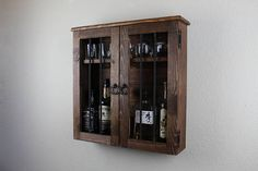 Rustic Jail Door Style Wooden Liquor Cabinet
