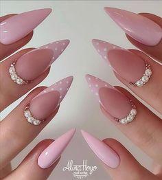 Almond Acrylic Nails, Pink Acrylic Nails, Pink Nails, Green Nails, Bright Summer Acrylic Nails, Bright Nails, Cute Acrylic Nail Designs, Colorful Nail Designs, Short Almond Nails