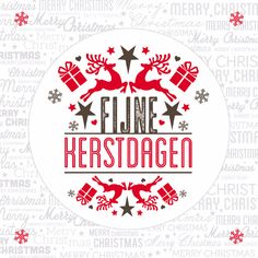 Kerstkaart in wit, rood en bruin, verkrijgbaar bij #kaartje2go voor € 1,89