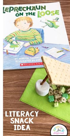 Literacy Snack Idea Leprechaun On The Loose+ Free Printable  Are you trying to catch a leprechaun with your class? Leprechaun On The Loose is such a fun book to read with them. See our snack and and printable to go along with the book. #leprechauntrap #booksnack #literacysnack #howtocatchaleprechaun #kindergarten