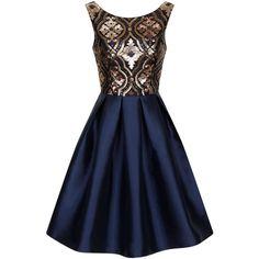 Chi Chi London Regal sequin skater dress ($91) ❤ liked on Polyvore featuring dresses, vestidos, short dresses, robe, navy, women, party dresses, navy blue short dress, navy cocktail dress and blue skater dress