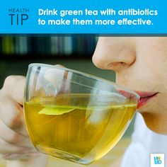 #TipTuesday: Go green! Researchers found drinking green tea with your antibiotics helps the medication destroy harmful bacteria up to three times more effectively.   The study showed that consuming green tea at the same time as taking antibiotics appeared to increase the action of the antibiotics, and reduce drug resistance in bacteria - making it easier to fight off drug-resistant bacteria, and even superbugs!