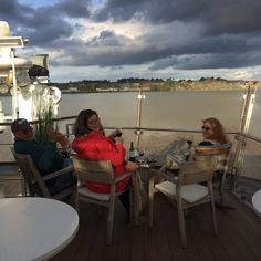Jim, Jenn and Ann keeping watch from the bow. Found wine! Cruising on the Viking Forseti up the Gironde Estuary and the Dordogne River from Blaye to Libourne.