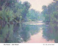 John MacDonald: The-Hoosic, after Monet Small Paintings, Large Painting, Landscape Paintings, Canvas Paintings, Water Pictures, Water Reflections, Oil Painters, Natural World, Beautiful Landscapes