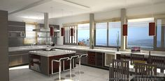 Idea of the Day: Blacklines of Design. Pretty nice, two tone bld gray red cornerstone design ocean view windows Living Room And Kitchen Design, Galley Kitchen Design, Best Kitchen Designs, Kitchen Cabinet Design, Modern Kitchen Design, Living Room Designs, Nice Kitchen, Kitchen Ideas, Black Kitchens