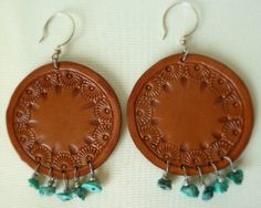 Hand Tooled Leather Earrings With Turquoise by TILTadornments