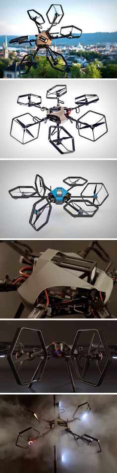 This drone is secretly a gymnast. Unlike any other drone, its propellers can bend and flex, pointing in virtually any direction, making the drone itself in turn, fly around in any orientation and do cartwheels in the sky. The Voliro, developed by students of the Swiss Federal Institute of Technology (ETH Zürich) and Zurich University of the Arts (ZHDK), is a Hexacopter (with six propellers) that's capable of doing pirouettes in the air.
