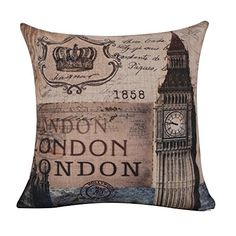 "$11.45 18""x18"" Shabby Chic London Big Ben 1858 Burlap Cushion Covers Pillow Case (CC766A) LINKWELL http://www.amazon.com/dp/B014N9HOLQ/ref=cm_sw_r_pi_dp_KH2owb0KP7H6V"