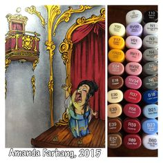 Colored by Amanda Farhang. This opera house scene was made using 2 digital stamps from MakeItCrafty.com. I printed it onto Neenah Exact Index 110lb card stock & colored with Copic sketch markers.