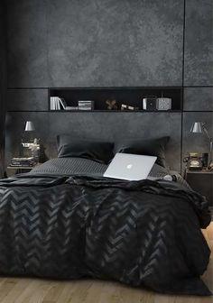 Стильная мужская спальня, как правило, подразумевает отсутствие гламурных деталей и аксессуаров, а также минимальное количество или вообще отсутствие светлых оттенков. В этой статье собрана коллекция дизайнерских идей для оформления мужских спален. Есть определенные материалы и элементы, относящиеся к мужскому дизайну: кожа, фланель, шерсть. Также мужскими считаются темные оттенки, такие как черный, серый, коричневый и синий.