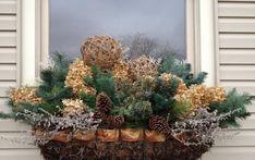 Christmas Window Box Ideas, like the ribbon trim, Christmas Window Boxes, Winter Window Boxes, Christmas Porch, Farmhouse Christmas Decor, Outdoor Christmas, Winter Christmas, Christmas Wreaths, Christmas Crafts, Christmas Decorations