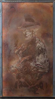 metal art humphrey bogart torch painting