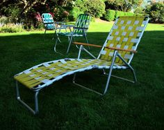 Mid Century Aluminum Chaise Lounge Folding Lawn Chair by JBHoffman, $92.00