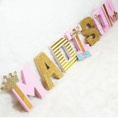 Pink And Gold Princess Party Princess Letter Decor Custom