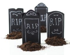 There's a trick to these tiny tombstones: they're actually boxes filled with treats!