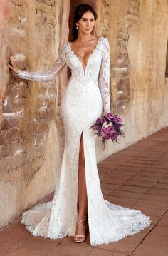 KITTYCHEN Couture Wedding Dresses at Bella's Bridal and Formal in Hoover, Alabama. Over 750 weddings dresses and a large selection of plus size. Slit Wedding Dress, Amazing Wedding Dress, Best Wedding Dresses, Bridal Dresses, Long Sleeve Lace Gown, Long Sleeve Wedding, Lace Dress, Lace Sleeves, Bella Bridal