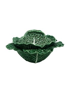 Bordallo Pinheiro Cabbage Tureen - Green / Natural - in. h 13 in. w 13 in. Cabbage Leaves, Green Cabbage, Types Of Cabbage, Thing 1, Crystal Glassware, Ceramic Studio, Museum Collection, Teller, Hand Blown Glass