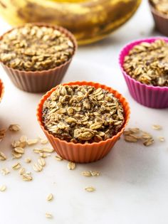 Vegan Baked Banana Oatmeal Cups   Detoxinista   Made with chia seeds, water, ripe bananas, rolled oats, water, salt, cinnamon, an baking soda