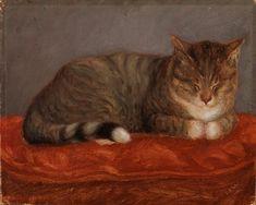 Maria Wiik (Finnish, 1853 - Makaava kissa, Mosse (early (via Finnish National Gallery) National Gallery, Mama Cat, Digital Museum, Collaborative Art, Animal Paintings, Pet Portraits, Cat Art, Art Day, Oil On Canvas