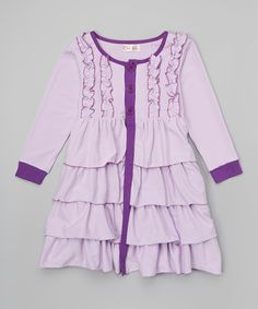 Look at this Creative Cuties Lavender London Ruffle Button Coat - Infant, Toddler & Girls on #zulily today!